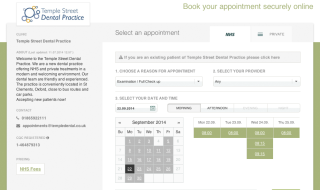 Online booking screen shot