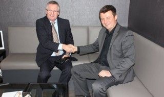 Eugene O'Mally (left) with Jim Hague (managing director). Eugene came to Hague Dental after having worked at A-dec for 16 years and has worked in the dental industry for 35 years
