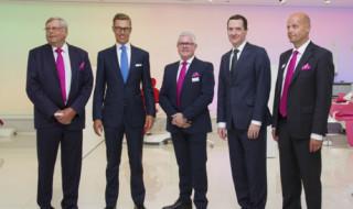 From left to right: Mr Heikki Kyöstilä, Mr. Alexander Stubb, Mr Karl O'Higgins, Mr George Osborne and Mr Jouko Nykänen