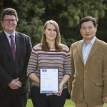 Jemma Walker (centre) with Professor Christopher Tredwin (left) and Dr Bing Hu (right)