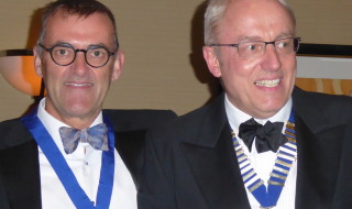 Dr Peter Sanders (left) with former president Dr Paul Baines (right)