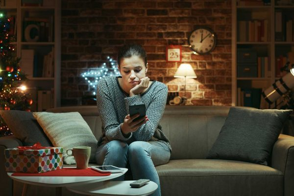 Woman not taking a social media detox over Christmas