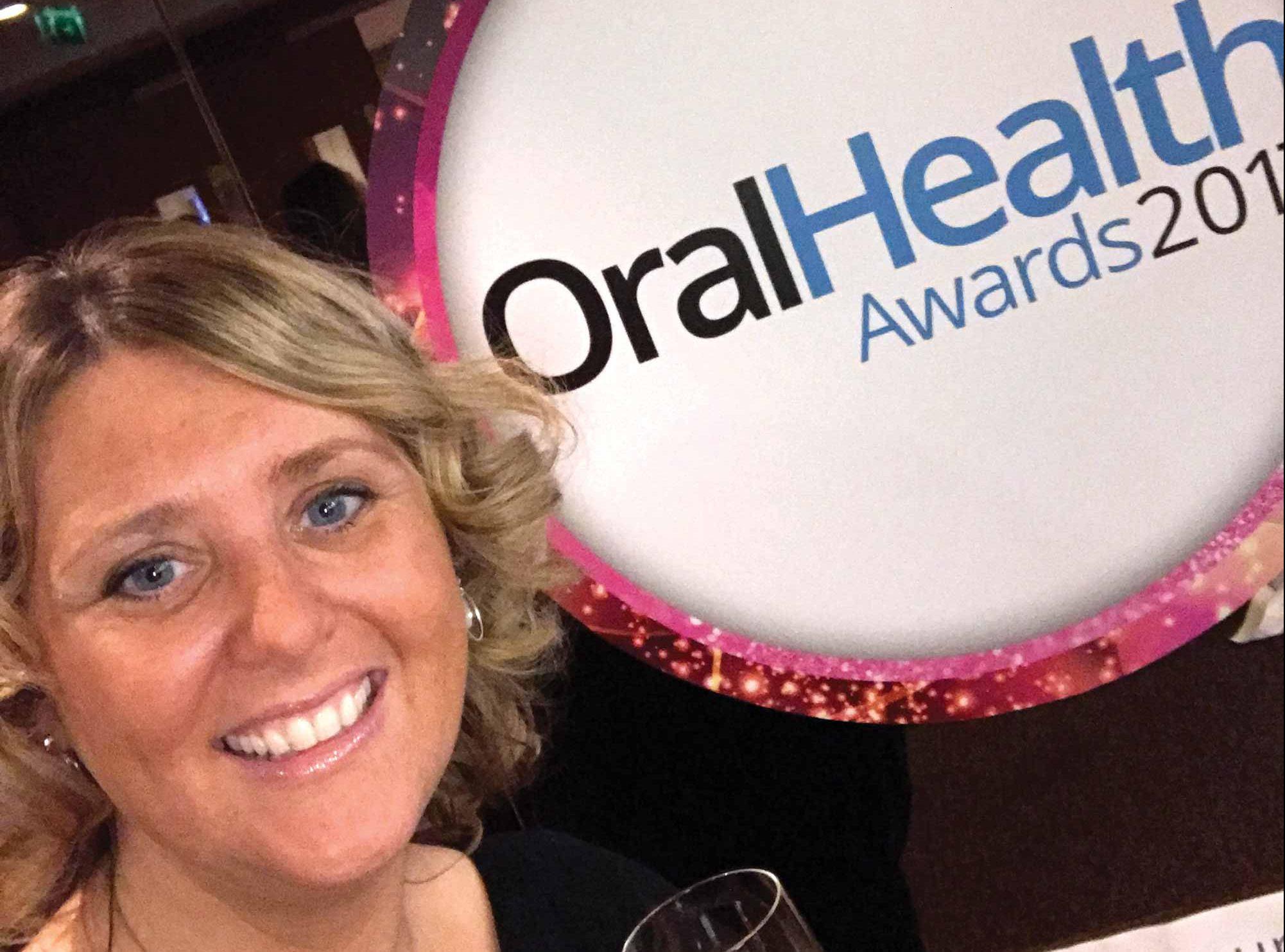 Faye at the oral health awards.