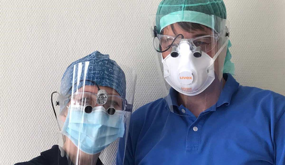dentists wearing Protect-shield